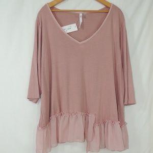 ny collection mamix plus size women shirt 3/4